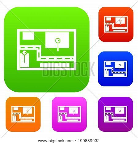 Navigator set icon in different colors isolated vector illustration. Premium collection