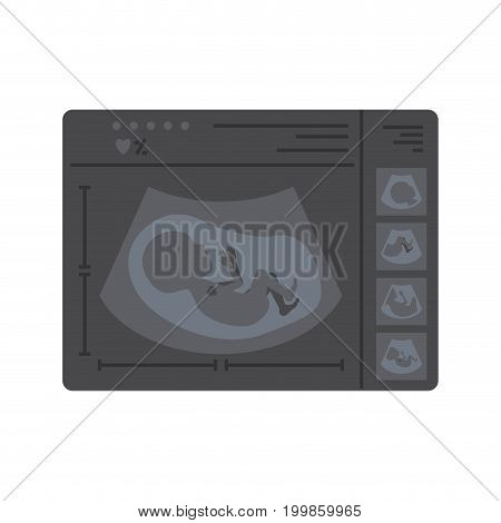 color silhouette of monitoring ultrasound of baby in device vector illustration
