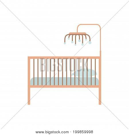 color silhouette of baby crib with wood railing vector illustration