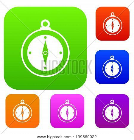 Compass set icon in different colors isolated vector illustration. Premium collection