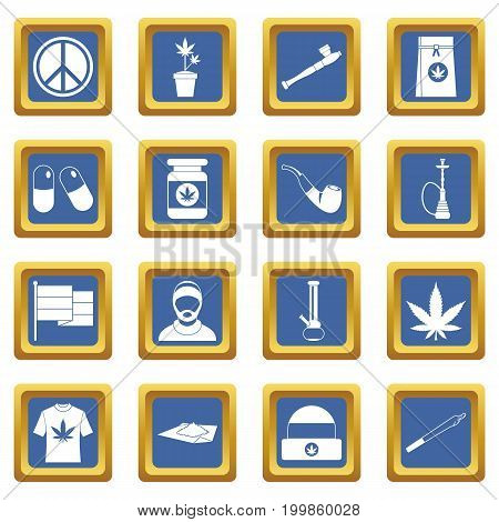 Rastafarian icons set in blue color isolated vector illustration for web and any design