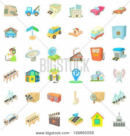 City element icons set. Cartoon style of 36 city element vector icons for web isolated on white background