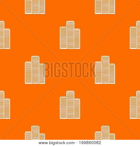 Skyscrapers in Singapore pattern repeat seamless in orange color for any design. Vector geometric illustration