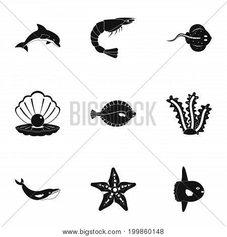 Underwater fauna icons set. Simple set of 9 underwater fauna vector icons for web isolated on white background