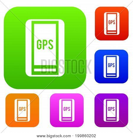 Global Positioning System set icon in different colors isolated vector illustration. Premium collection