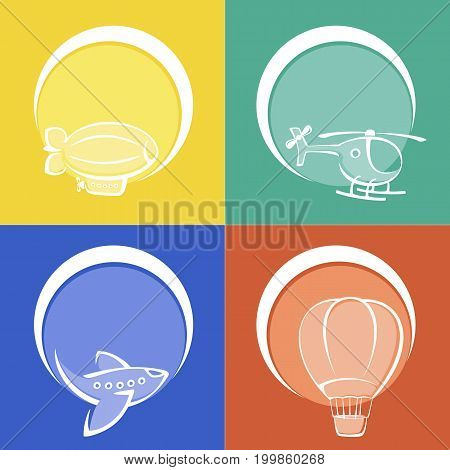 Set of colored aviation icons. Aviation concept. Painted icons in a flat style. Aviation Illustration stock photography.