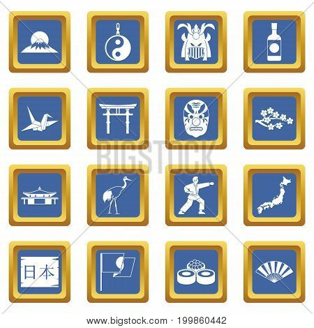 Japan icons set in blue color isolated vector illustration for web and any design