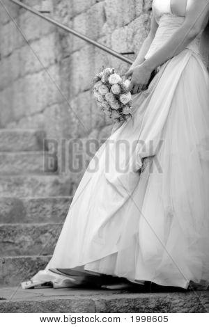 Bride Against Wall