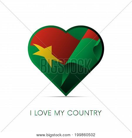 Burkina Faso flag in heart. I love my country. sign. Vector illustration.