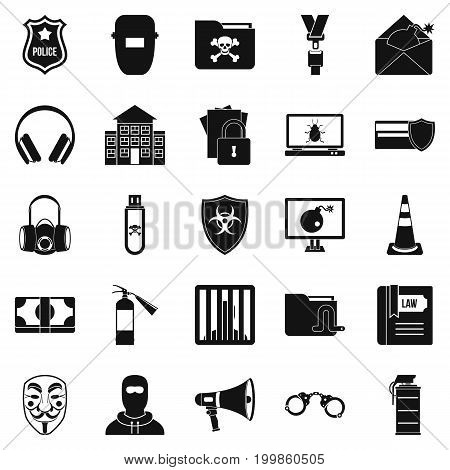 Prosecution icons set. Simple set of 25 prosecution vector icons for web isolated on white background