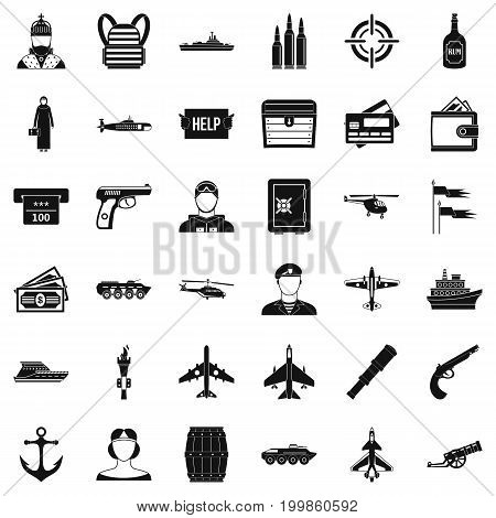 Combat vehicle icons set. Simple style of 36 combat vehicle vector icons for web isolated on white background