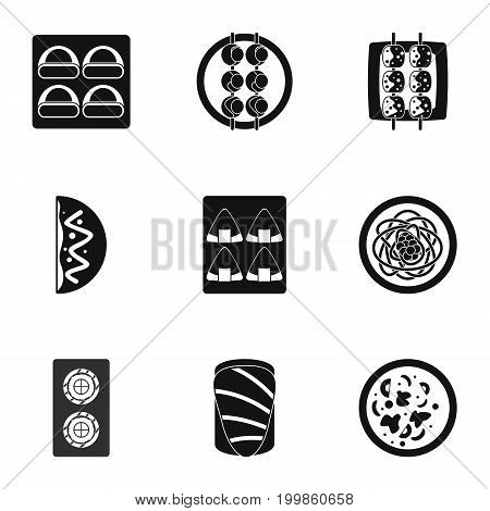 Japan food icons set. Simple set of 9 Japan food vector icons for web isolated on white background