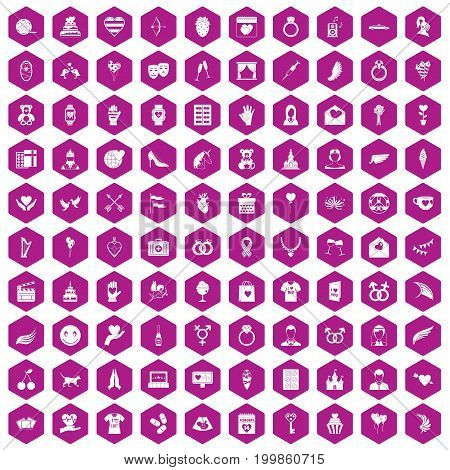 100 heart icons set in violet hexagon isolated vector illustration