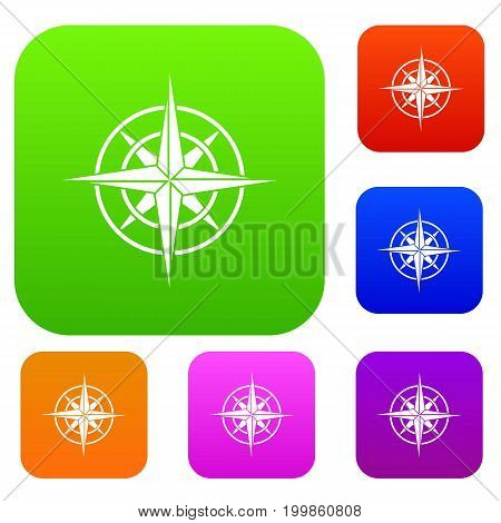 Ancient compass set icon in different colors isolated vector illustration. Premium collection