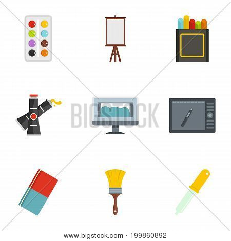 Designer equipment icons set. Flat set of 9 designer equipment vector icons for web isolated on white background