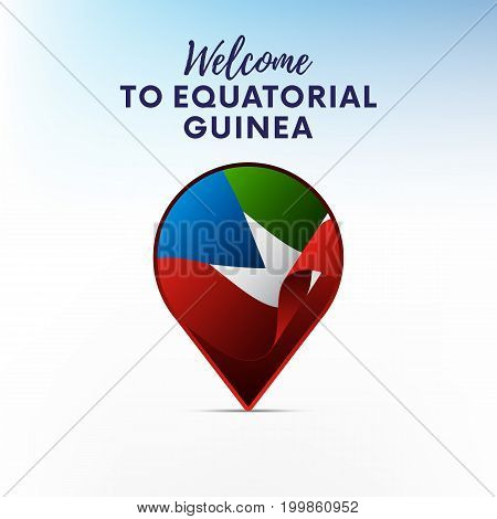 Flag of Equatorial Guinea in shape of map pointer or marker. Welcome to Equatorial Guinea. Vector illustration.