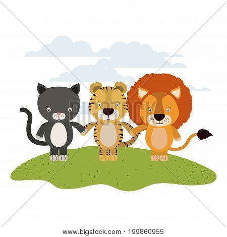 white background with color scene cat tiger and lion cute animals holding hands in grass vector illustration