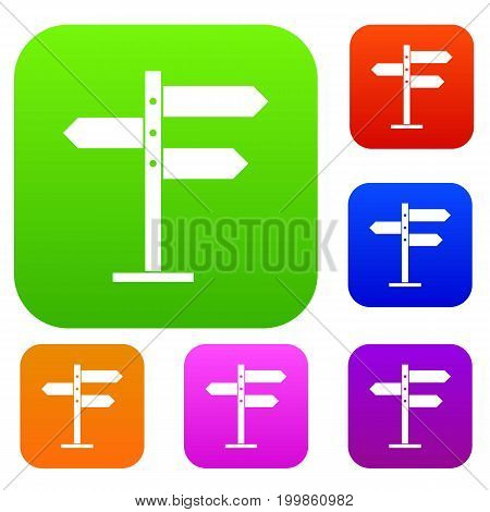 Direction signs set icon in different colors isolated vector illustration. Premium collection