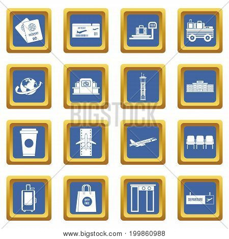 Airport icons set in blue color isolated vector illustration for web and any design