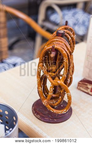 German pretzels with salt close-up on the table