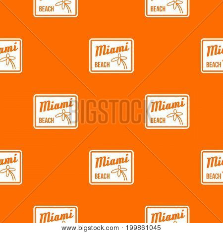 Miami beach pattern repeat seamless in orange color for any design. Vector geometric illustration