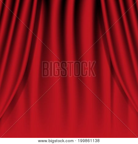 Realistic red curtain. Theatrical curtain. Vector illustration.
