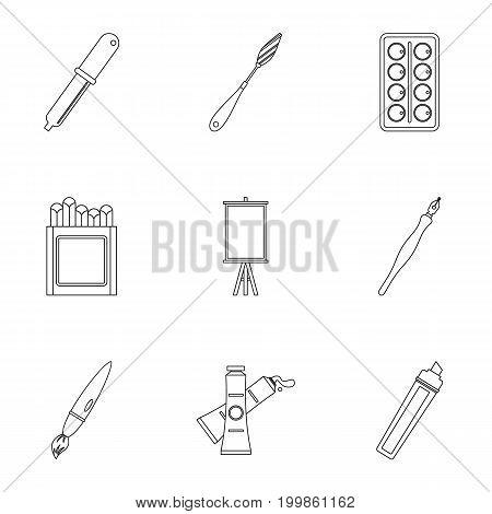 Designer equipment icons set. Outline set of 9 designer equipment vector icons for web isolated on white background