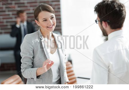 business meeting business women with a business partner