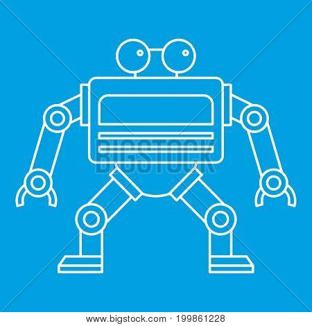 Automation machine robot icon blue outline style isolated vector illustration. Thin line sign