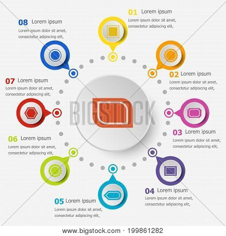 Infographic template with label icons, stock vector