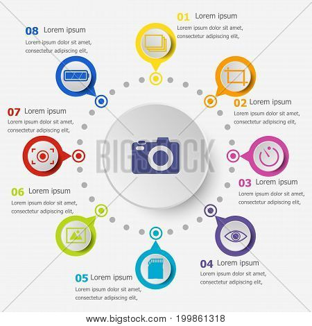 Infographic template with photography icons, stock vector