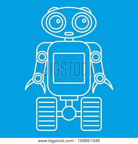 Cute robot on wheels icon blue outline style isolated vector illustration. Thin line sign