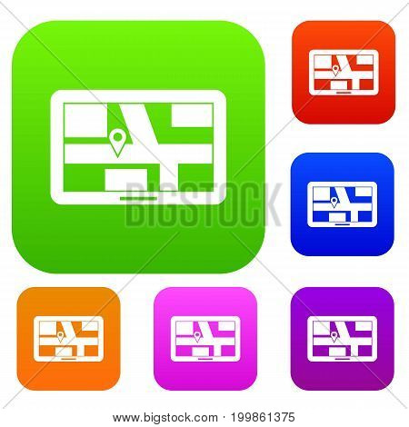 Navigation set icon in different colors isolated vector illustration. Premium collection