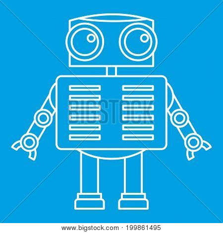 Humanoid robot icon blue outline style isolated vector illustration. Thin line sign