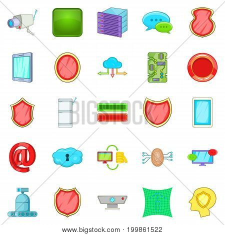 Encoding icons set. Cartoon set of 25 encoding vector icons for web isolated on white background