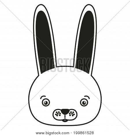 white background with monochrome silhouette caricature face rabbit vector illustration