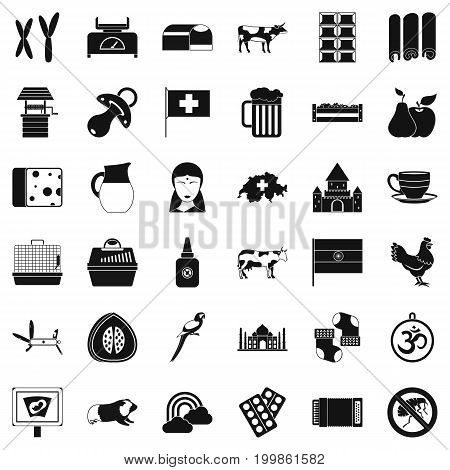 Cow icons set. Simple style of 36 cow vector icons for web isolated on white background