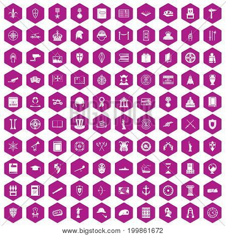 100 history icons set in violet hexagon isolated vector illustration