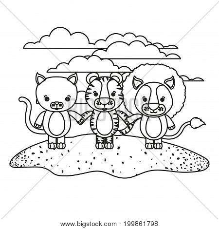 white background with silhouette scene cat tiger and lion cute animals holding hands in grass vector illustration