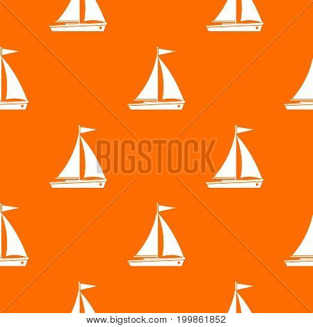 Yacht pattern repeat seamless in orange color for any design. Vector geometric illustration
