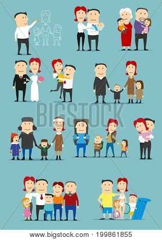 Family activity cartoon set. Big family of mother, father, son, daughter, grandfather and grandmother are playing, walking outdoor, hugging, having fun and resting on vacation and camping trip