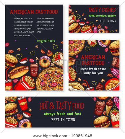 Fast food meal for restaurant banner template. Fast food burger, pizza, french fries, soda, hot dog, donut, coffee, ice cream, egg sandwich and burrito with ingredients sketch poster and flyer design