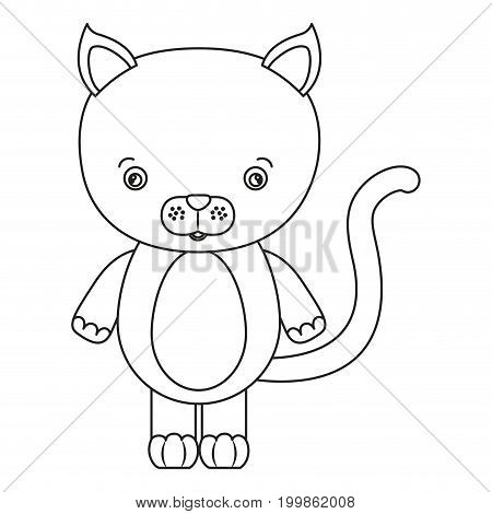 white background with silhouette caricature cute cat animal vector illustration