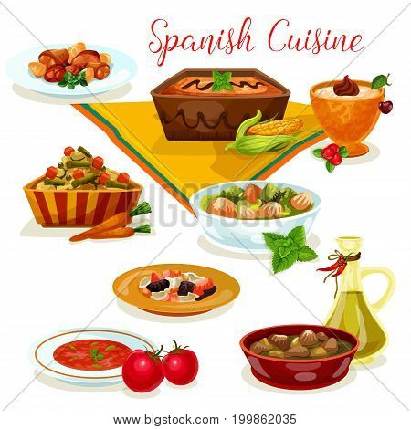 Spanish cuisine tasty dinner menu icon of pork bean soup with ham and sausage, rice pudding, meat and liver vegetable stew, chicken in wine sauce, tomato soup gazpacho, potato bean salad, corn cream