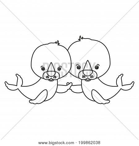 white background with silhouette caricature couple cute animal seals aquatic vector illustration