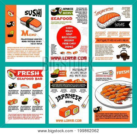 Sushi menu poster template for japanese cuisine seafood restaurant or sushi bar. Fresh sushi with rice, salmon and tuna fish, shrimp and caviar, seaweed and chopsticks banner set for asian food design