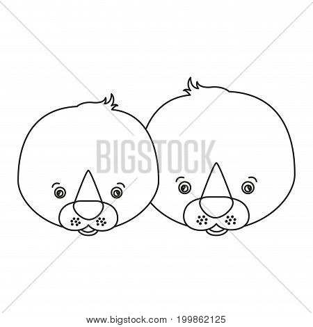 white background with silhouette caricature face couple cute animal seals vector illustration