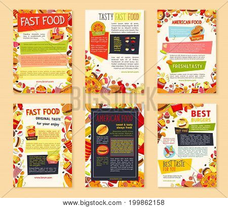 Fast food meal banner template set. Burger, pizza, hot dog, donut, coffee, french fries, soda, ice cream and sandwich cartoon poster with ingredients, sauce for fast food restaurant menu flyer design