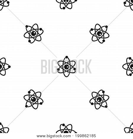 Atomic model pattern repeat seamless in black color for any design. Vector geometric illustration