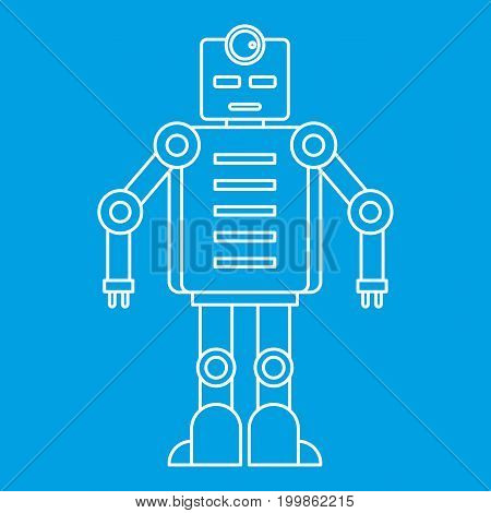 Robot icon blue outline style isolated vector illustration. Thin line sign